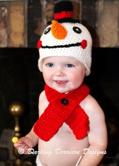 Baby Snowman Hat Crochet Pattern. Perfect for the Holidays. Comes in baby, child, to adult sizes!