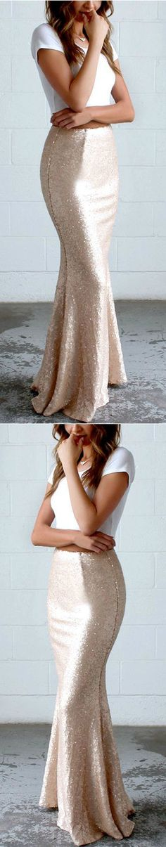 Simple Mermaid Prom Dress, Cap Sleeves Long Party Dress, Gold Sequins Evening Dress 51434#RosyProm #fashionpromdress #charmingpromgown #longpartydress #simpleeveningdress #capsleevespromdress #mermaidpromgown