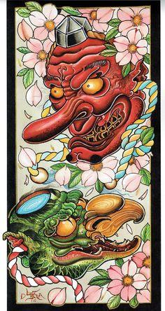 Tengu Tattoo, Irezumi Tattoos, Traditional Japanese Art, Traditional Tattoo, Kappa Japanese, Sak Yant Tattoo, Japanese Tattoo Designs, Asian Tattoos, Japan Tattoo
