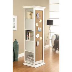 Coaster Company White Swivel Cork Board Storage Cabinet (White)