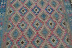 Unique Afghan Blue Natural Kilim Rug Hand Woven 7'6x4'11 Wool Carpet Kelim #4203