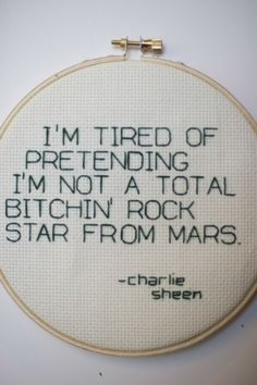 Lol such words of wisdom haha awesome on needlepoint sold on etsy Charlie Sheen Quotes, Image Positive, Do It Yourself Inspiration, Lol, Signs, Cross Stitching, Make Me Smile, Wise Words, Me Quotes