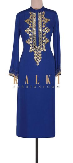 Buy Online from the link below. We ship worldwide (Free Shipping over US$100). Product SKU - 302355. Product Link - http://www.kalkifashion.com/royal-blue-suit-adorn-in-mirror-and-gotta-patch-work-only-on-kalki.html