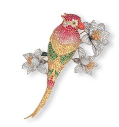 A MULTI-GEM AND DIAMOND PARROT CLIP BROOCH, BY ANGEVIN