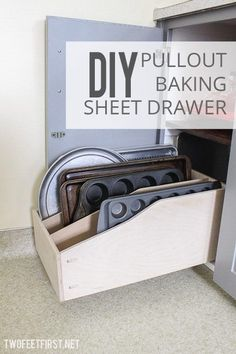 Baking paraphernalia is always hard to organize: If you stack the pieces, you risk the whole pile tumbling down when you try to take out one baking sheet, but if slide them in on their side, stuff gets pushed deeper and deeper into the cabinet. This smart DIY idea from Megan and Eric of Two Feet First integrates vertical storage and a drawer so cookie sheets, pans, and muffin tins are not only organized, but also easy to access.
