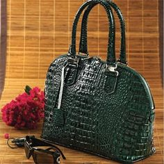Croc Embossed Green Leather Handbag Stauer