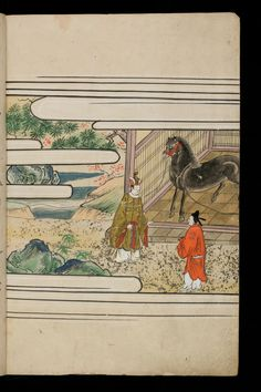 Japenese manuscript representing the Life of Buddha (Shaka no Honji). It's a Nara picture book. Two men are talking to each other in front of a black horse inside a stable.  #Japan #Manuscript #picturebook #buddha #horse #black #aristocrat #noble #trees #stable