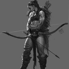 f Half Orc Barbarian CN Longbow Sword underdark wilderness 34134 by NI Yipeng on ArtStation. Female Orc, Fantasy Female Warrior, Fantasy Rpg, Dark Fantasy Art, Fantasy Artwork, Woman Warrior, Medieval Fantasy, Female Character Design, Character Design Inspiration