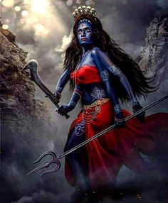 Said to b Ma Kali ! in awesome angry look Maa Kali Images, Durga Images, Kali Mata, Indian Goddess, Kali Goddess, Hindu Kunst, Kali Picture, Kali Statue, Durga Painting