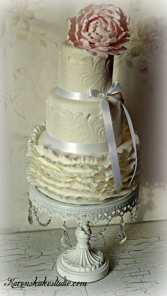 Peony Wedding cake by Karen's kakes, via Flickr