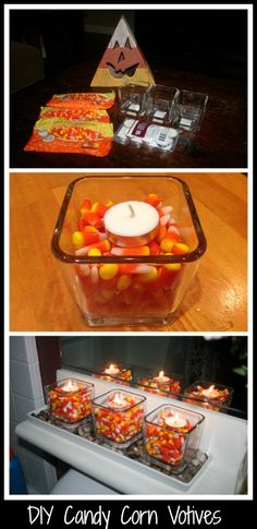 With Halloween coming, candles are the perfect accessory for any party. These DIY candy corn votives are inexpensive and easy to make!
