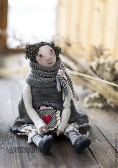 Купить Валюша - серый, Будуарная кукла, День Святого Валентина, День всех влюбленных