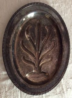 """VINTAGE """"Tree of Life"""" Silver Oval Serving Tray or Platter with Awesome Patina. 16 in X 12 in. Great for Chalkboard Paint or Wall Hanging - pinned by pin4etsy.com"""