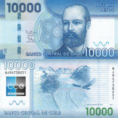 Chile Pesos banknotes for sale. Dealer of quality collectible world banknotes, fun notes and banknote accessories serving collectors around the world. Over 5000 world banknotes for sale listed with scans and images online. Chile, Visa Card, Money, Cards, Printables, Number, Portrait, Central Bank, Coins