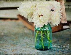 Peonies Aqua Blue Mason Jar Vase, White Peony Flowers Wedding Bouquet Decor, Country Porch Spring Living Room, 11x14 Fine Art Photography