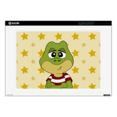 "Green frog cartoon skin 15"" laptop decal"