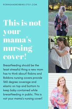 Breastfeeding should be the least stressful thing a new mom has to think about! Robins and Bobbins nursing covers provide 360 degree coverage and elastic on top and bottom to keep baby contained while breastfeeding in public. It also comes with a carrying