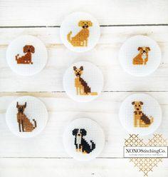 Handmade Custom Cross Stitch Portraits by XOXOStitchingCo Cross Stitch Family, Tiny Cross Stitch, Cross Stitch Animals, Modern Cross Stitch, Cross Stitch Designs, Cross Stitch Patterns, Cross Stitching, Cross Stitch Embroidery, Puppy Crafts