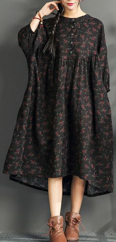 New black print long linen dress plus size o neck cotton gown boutique high waist caftans1