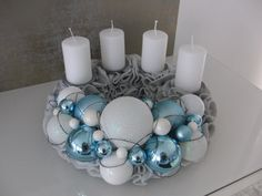 Türkranz Tisch Adventskranz Designer Kranz Deko Kugeln Filz blau weiß grau 30   eBay