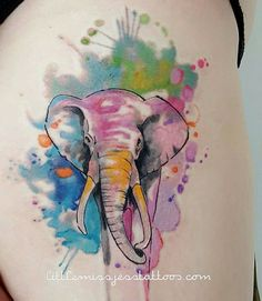 Jess Hannigan watercolor elephant tattoo