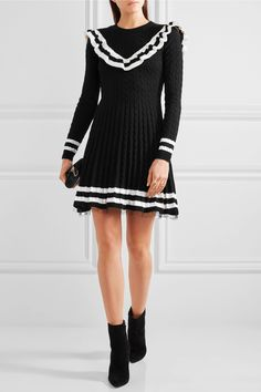 REDValentino | Point d'esprit-trimmed ruffled cable-knit cotton mini dress | NET-A-PORTER.COM