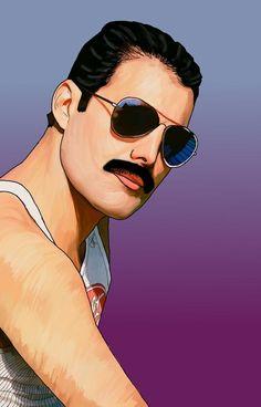 Queen Freddie Mercury, Freddie Mercury Tattoo, John Deacon, Queen Banda, Freedy Mercury, Freddie Mercuri, Impression Poster, Queen Drawing, Queens Wallpaper
