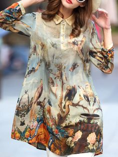 Brown Shift 3/4 Sleeve Silk Animal Print Mini Dress  $99.00