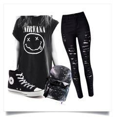 """everyday outfit"" by cupcakesamundson ❤ liked on Polyvore featuring Converse and emo"