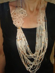 Crochet Beaded Necklace, Long crochet necklace with flowers, Glass Beads, Handmade