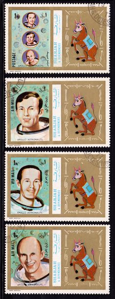 A series of stamps from Sharjah commemorating the Apollo Astronauts