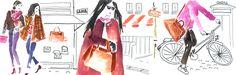 Julia Perrin for Lancel : @lisonbag @illustration Illustrator
