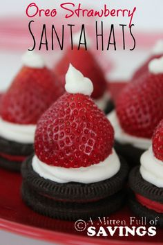Oreo Strawberry Santa Hats-  easy Christmas treat that the kids will love. Plus it's a treat with fruit in it!  Pin this to your Christmas board!