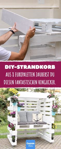 Holiday feeling for home: From 8 Euro pallets you build yourself .- Urlaubsfeeling für daheim: Aus 8 Europaletten baust du dir deinen eigenen Stran… Holiday feeling for home: From 8 Euro pallets you build your own beach chair. Euro Pallets, Wooden Pallets, Diy Pallet Projects, Garden Projects, Pallet Ideas, Diy Jardin, Pallet Building, Pallet Furniture Designs, Palette Diy