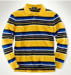 Classic Long-Sleeved Stripe Polo Yellow Ralph Lauren Long Sleeve, Polo Ralph Lauren, Lots For Sale, Men Sweater, Yellow, Classic, Sleeves, Sweaters, Fashion