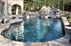 Gorgeous Pool There Is A Rock Grotto Slide Swim Up Bar