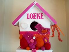 birdhouse with music box and babies name. Made for baby Loeke