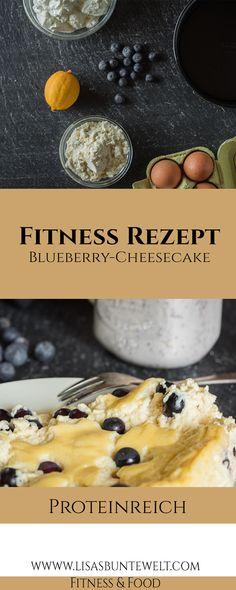 Gesunder Käsekuchen mit Heidelbeeren - Protein Blueberry Cheesecake aus Magerquark, Eiern, Proteinpulver. Schnell und einfach zubereitet mit tollen Nährwerten.