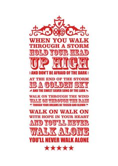 'YNWA' digital print by on Etsy - words to the famous Liverpool FC anthem. Liverpool Fc, Liverpool Football Club, Liverpool Tattoo, This Is Anfield, Fc Chelsea, You'll Never Walk Alone, Walking Alone, Steven Gerrard, Ac Milan