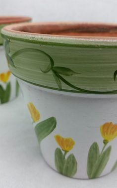 3 HANDPAINTED Flowers CLAY FLOWER POT HAND PAINTED #Unbranded