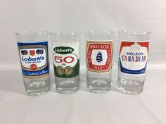 Canadian Beer Glasses VTG Set of 5 Labbats Molsons 50 Export Blue Bar Tumbers #unbranded
