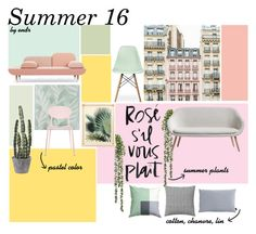 A home decor collage from March 2016 featuring Ciel, oak furniture and wood furniture. Summer Plants, House Doctor, Pastel Colors, Decoration, Wood Furniture, Collages, Dining Chairs, Polyvore, Design