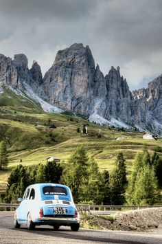 The Dolomites, Italy Good mix. Beautiful mountain and the good one car in the world.