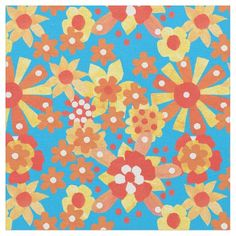A ditsy, multi-coloured fabric with a seamlessly repeating all-over pattern of red, orange and yellow flowers on a bright turquoise background, from a handpainted paper collage by Judy Adamson. Part of the Posh and Painterly 'Orange Fizz' collection: up to $27.95 per yard - http://www.zazzle.com/ditsy_orange_floral_pattern_on_turquoise_fabric-256592426818883325?rf=238041988035411422&tc=pintw