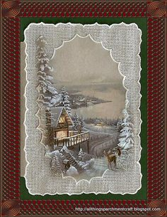 Handcrafted Parchment Craft Christmas Greeting Card