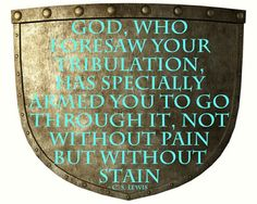 God, who foresaw your tribulation, has specially armed you to go through it, not without pain but without stain. ~C.S.Lewis~
