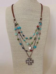 Artisan Jewelry, Turquoise, Gaspeite, Cuprite, Fine Silver Necklace, Iron Cross Pendant, Sundance, Multi Strand, Leather. $175.00, via Etsy.
