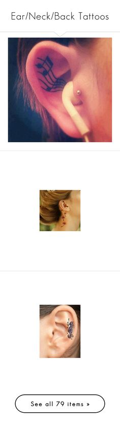 """""""Ear/Neck/Back Tattoos"""" by angelicdemon479 ❤ liked on Polyvore featuring tattoos, accessories, body art, tatoos, tattoos and piercings, ink/tattoos, pictures, backgrounds, tattoos & piercings and tattoo"""