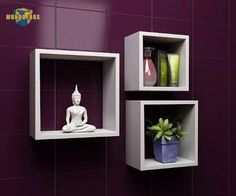 Unique Wall Shelves, Wall Shelves Design, Wood Shelves, Wall Design, Floating Cube Shelves, Home Interior Design, Interior Decorating, Wall Cubes, Bedroom Decor
