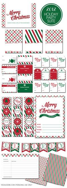 Traditional Holiday Party Printables! FREE! Contains invites, recipe cards, food tent cards, gift tags (2 styles), patterned paper, banner, + more!